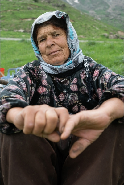 a woman were friends in the mountains and made a trip to make Kurdish grass in Gulan Village of Iraq
