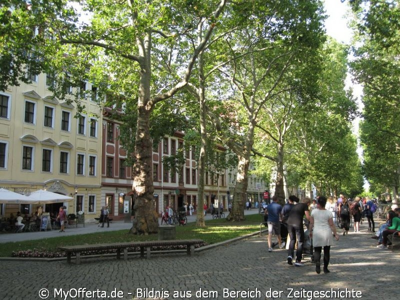Hauptstraße in Dresden im Sommer 2019
