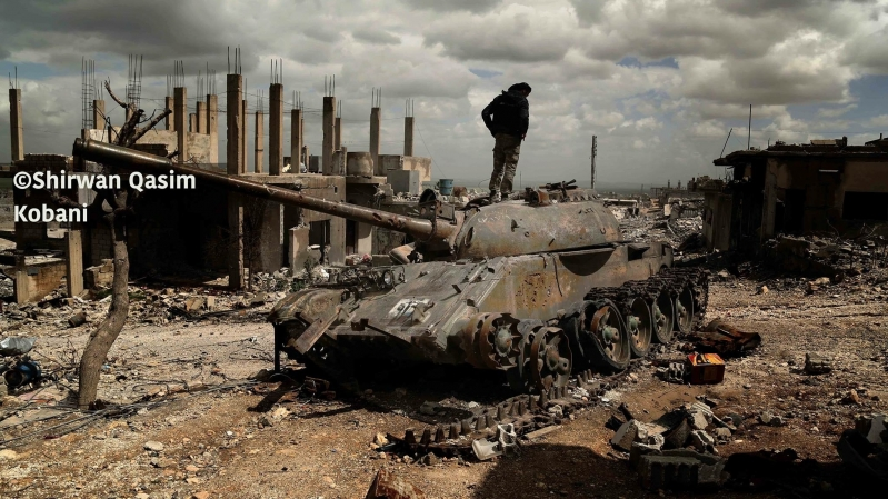 Fighters on a tank destroyer terrorist organization Islamic State